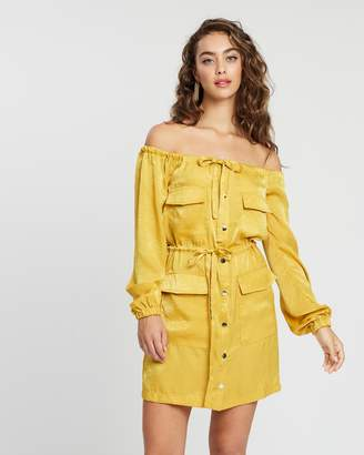 Missguided Satin Bardot Oversized Utility Dress