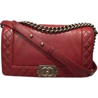 Chanel Boy Burgundy Leather Handbag