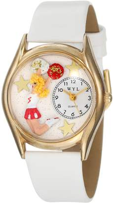Whimsical Watches Kids' C0820013 Classic Cheerleader White Leather And tone Watch