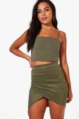 boohoo Petite Ruched Side Asymmetric Mini Skirt