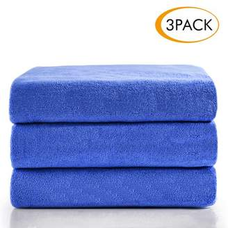 """Unbranded Microfiber Bath Towel Set 3 Piece (27"""" x 55""""), Soft, Super Absortbent and Fast Drying, Antibacterial, Perfect For Sports, Travel,Yoga - Solid Blue"""