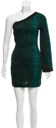 Balmain One-Shoulder Patterned Dress