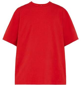 Calvin Klein Logo Embroidered Oversized Cotton T Shirt - Mens - Red