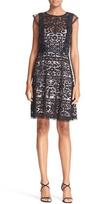 Women's Parker 'Rosewell' Embroidered Tulle Fit & Flare Dress $330 thestylecure.com
