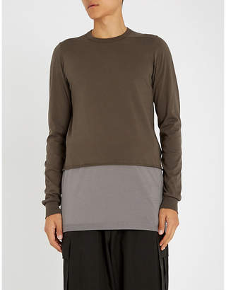 Rick Owens Contrast-hem cotton-jersey top