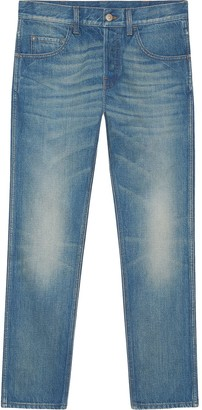 Gucci Denim tapered pant with tiger