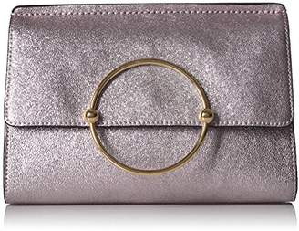 Milly Metallic Leather Flap Clutch