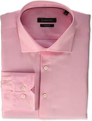 Bugatchi Men's Fitted Tonal Jacquard Spread Collar Dress Shirt