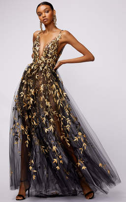 Oscar de la Renta Floral Embroidered Tulle Layered Gown