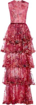 Costarellos Sleeveless Sequin Tiered Ruffle Tulle Dress Size: 34