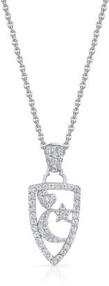 18K White Gold with Star, Moon & Heart .88 ct Diamond Necklace