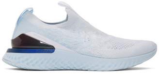 Nike (ナイキ) - Nike ホワイト and ブルー エピック ファントム リアクト フライニット スニーカー
