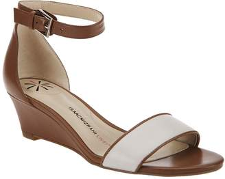 Isaac Mizrahi Live! Ankle Strap Low Wedge Leather Sandals