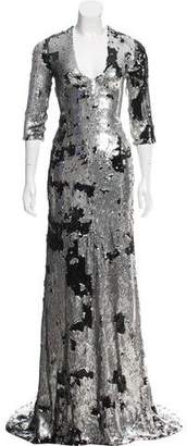Ralph Rucci Sequin Short Sleeve Gown