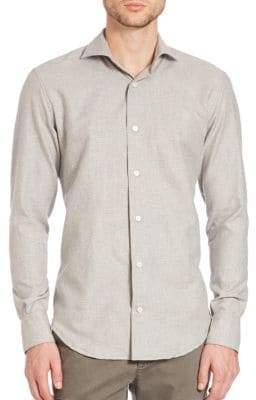 Eleventy Micro Dot Brushed Cotton Button-Down Shirt