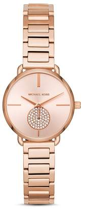 Michael Kors Rose Gold-Tone Portia Link Bracelet Watch, 28mm