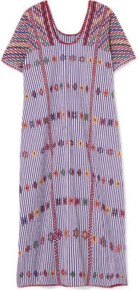 Pippa Holt - Embroidered Striped Cotton Kaftan - Purple
