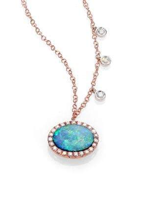 Meira T Opal, Diamond& 14K Rose Gold Pendant Necklace