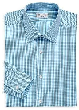 Charvet Men's Regular-Fit Micro-Check Cotton Dress Shirt