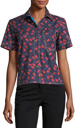 Marni Poppy-Print Short-Sleeve Blouse