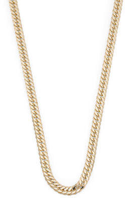 14k Gold Double Curb Diamond Cut Chain Necklace