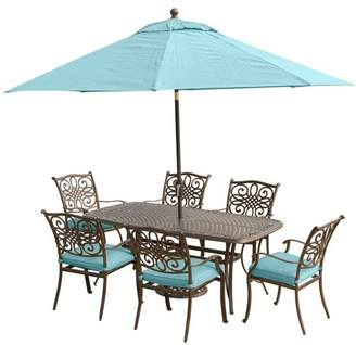 Hanover Traditions 7-Piece Dining Set, Cast-Top Table, 9 Ft. Umbrella and Stand