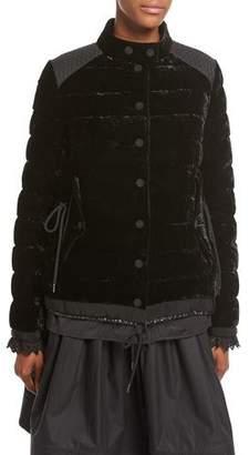 Moncler Beatrice Velvet Quilted Coat, Black