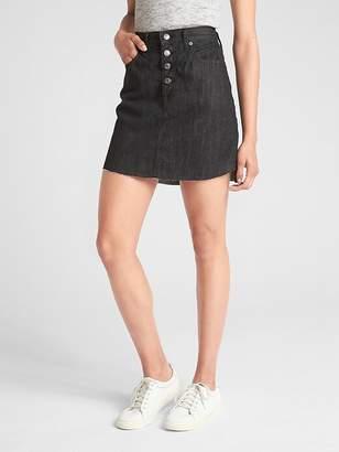 High Rise Button-Fly Denim Mini Skirt