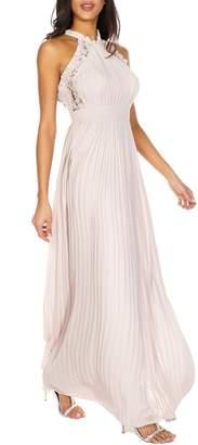 TFNC Dousha Pleated Halter Gown