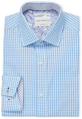 English Laundry Con.Struct Blue Printed Twill Slim Fit Dress Shirt