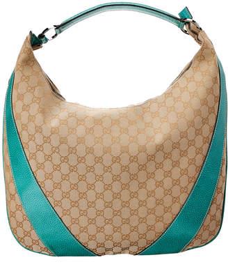 12a1027d9e3b Gucci Gold Gg Canvas   Blue Leather Hobo Bag