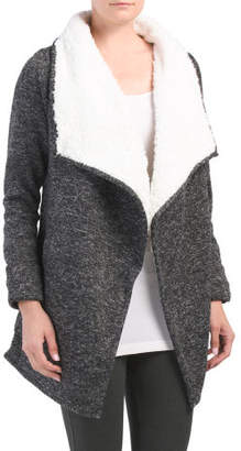 Sweater Knit Sherpa Lined Wrap Jacket
