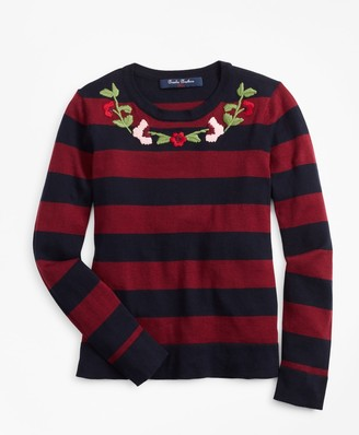 Brooks Brothers Girls Cotton Rugby Stripe Embroidered Sweater