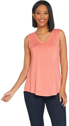 Halston H By H by Essentials V-Neck Tank with Hi-Low Shirttail Hem