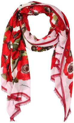 Dolce & Gabbana Printed Cashmere Blend Twill Scarf