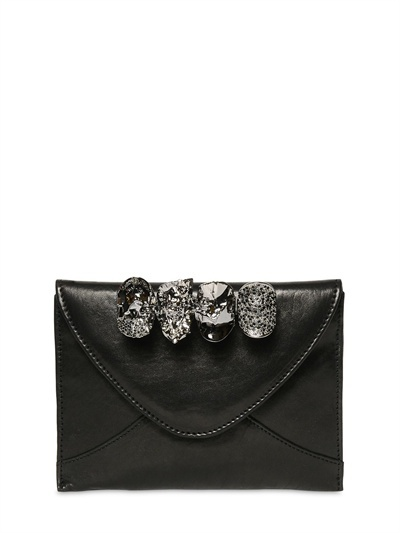 Maison Du Posh Small Skulls Knuckle Ring Leather Clutch