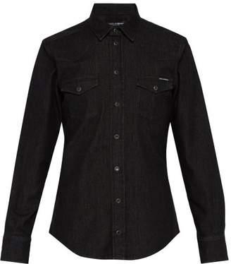 Dolce & Gabbana Double Pocket Cotton Denim Shirt - Mens - Black