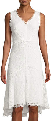 Neiman Marcus Lace Sheath Dress with High-and-Low-Hem Ivory