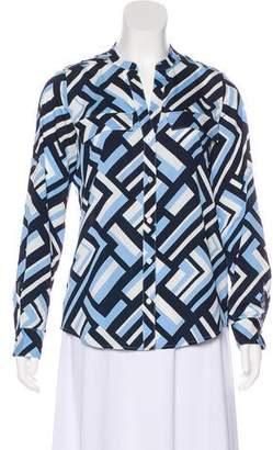 Calvin Klein Printed Button-Up Blouse