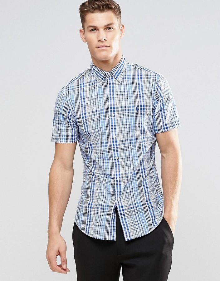 Polo Ralph Lauren Shirt In Seersucker Blue Check Slim Fit Short Sleeves