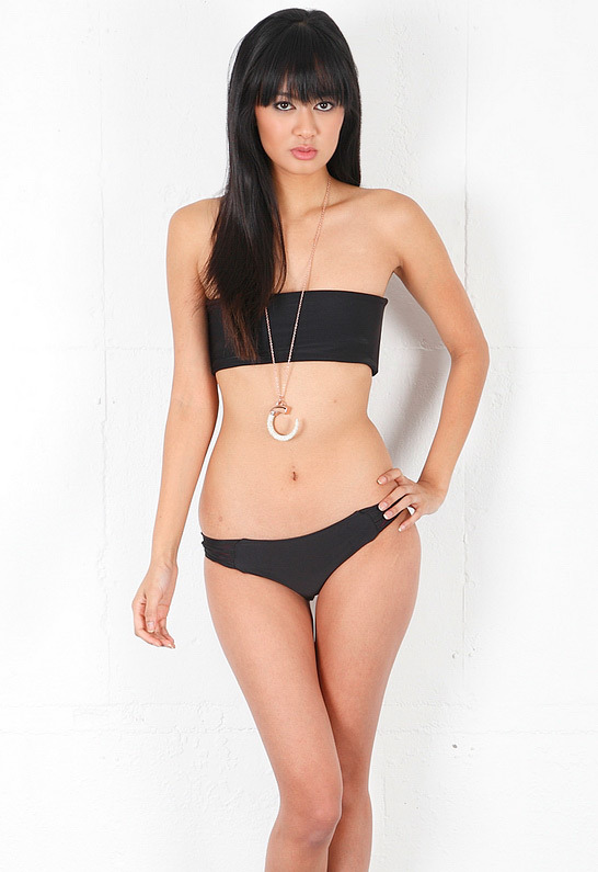 Singer22 Mikoh Tropicana String Back Bandeau Bikini in Night