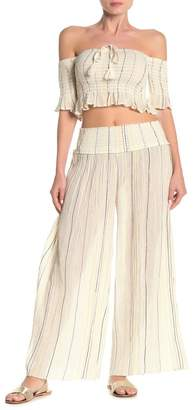 Surf.Gypsy Wide Leg Smocked Stripe Gaucho Pants
