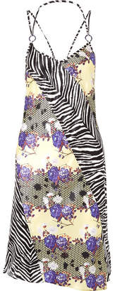 Opening Ceremony Embellished Printed Silk-charmeuse Dress - Purple