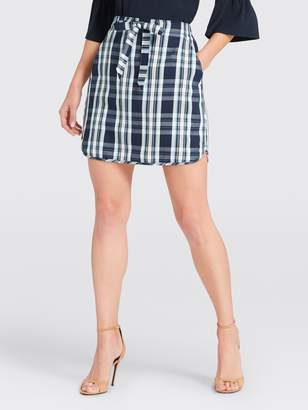 Draper James Plaid Drawstring Mini Skirt