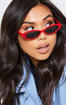 PrettyLittleThing Red Frame Black Lens Slim Cat Eye Sunglasses