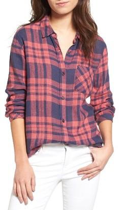 Women's Rails Charli Linen Blend Plaid Shirt $148 thestylecure.com