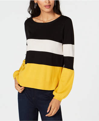 INC International Concepts I.N.C. Stripe Puff-Sleeve Sweater, Created for Macy's