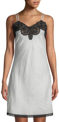 Morpho + Luna Margot Lace-Trim Striped Silk Chemise