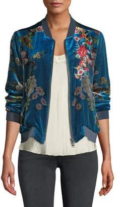 Johnny Was Vivian Floral-Print Velvet Bomber Jacket