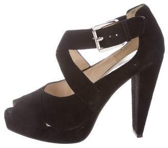 MICHAEL Michael Kors Suede Peep-Toe Sandals